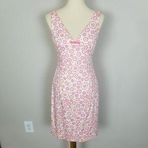 Maggy London Deep V-Neck Pink Floral Prints Dress